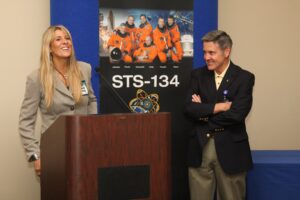 Carol Craig with Bob Cabana at STS-134 Launch Reception